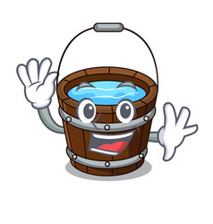 waving wooden bucket character cartoon vector image