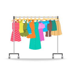 Women summer casual clothes on hanger rack vector