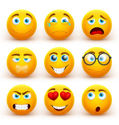 Yellow 3d emoticons set funny smiley face vector