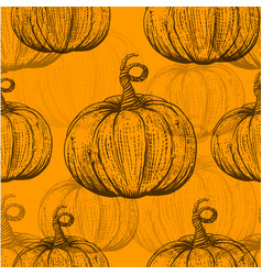 Yellow pattern with sketch pumpkins vector