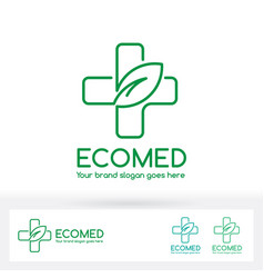 eco medical clinic logo with cross and leaf symbol vector image