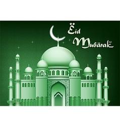 Eid Mubarak background with mosque vector image vector image