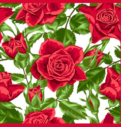seamless pattern with red roses beautiful vector image vector image