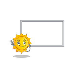 thumbs up with board cute sun character cartoon vector image