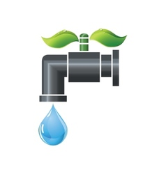 Water tap or faucet with droplet and green leaves vector image vector image