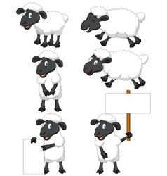 Cute cartoon sheep collection set vector image vector image