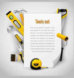 Realistic carpenter tools background frame vector