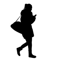 woman silhouette walking and talking on the vector image vector image