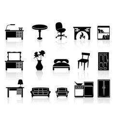 black simple furniture icon vector image