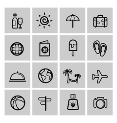 black vacation travel icon set vector image vector image