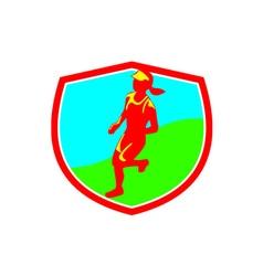 Female Triathlete Marathon Runner Shield vector image vector image