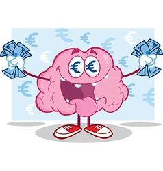 Greedy brain with money vector image vector image
