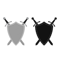 Two crossed swords steel shield emblem Color vector image