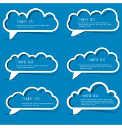 Clouds speech bubbles from paper outline vector image
