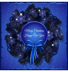 Dark blue Christmas wreath out of pine branches vector image vector image