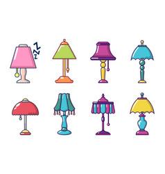 lamp icon set cartoon style vector image