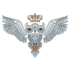 owl tattoo with the crown and heart vector image