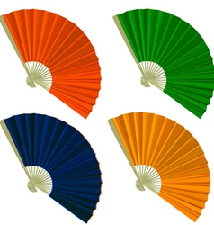 Set traditional Folding Fans vector image