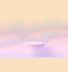 3d soft pink circle podium display on fantasy sky vector image