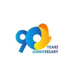 90 years anniversary celebration blue yellow vector