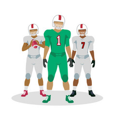 American football players in equipment with ball vector