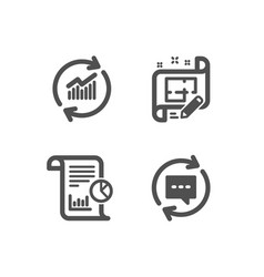 Architect plan update data and report icons vector
