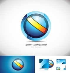 Blue orange sphere circle 3d logo design vector