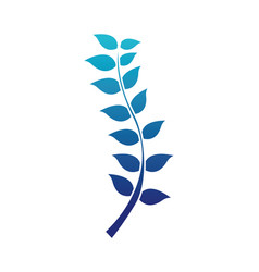blue silhouette nature branches leaves plant vector image