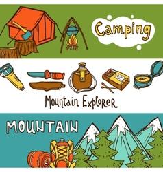 Camping Banners Horizontal vector image