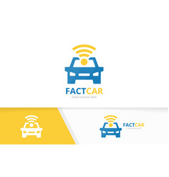 Car and wifi logo combination vehicle vector
