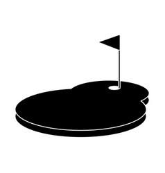 Cartoon golf flag with hole grass field vector