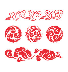 chinese clouds asian swirl cloud set vector image