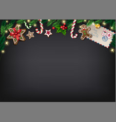 christmas poster with gifts on chalkboard vector image