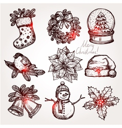 Christmas sketch collection of symbols vector