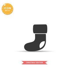 Christmas sock icon simple flat style vector