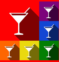 cocktail sign set of icons vector image