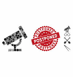 Collage telescope icon with textured postponed vector