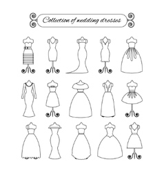 Collection of white thin line wedding dresses vector image