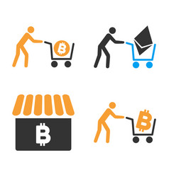 cryptocurrency shopping icon set vector image