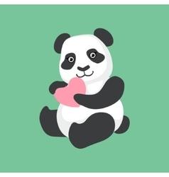 Cute Panda Character Holding A Heart vector image