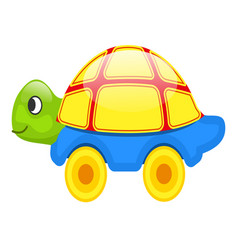 Cute toy turtle on wheels isolated vector