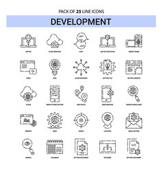 development line icon set - 25 dashed outline vector image