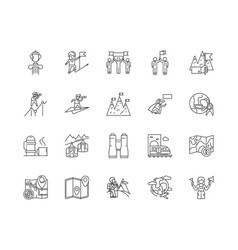 discover line icons signs set outline vector image