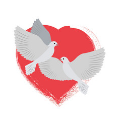 Doves flying and red heart vector