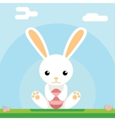 Easter bunny hold egg icon sky background template vector image