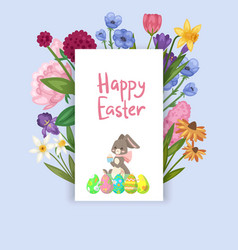 easter card with spring flowers and cute babunn vector image