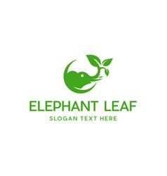 Elephant ecology leaves naturally animal logo vector