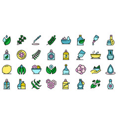 essential oils icons set flat vector image