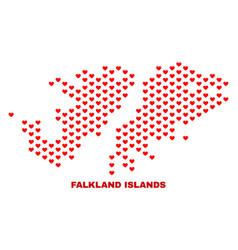 falkland islands map - mosaic of valentine hearts vector image