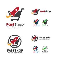 Fast shop logo shopping cart with rocket symbol vector